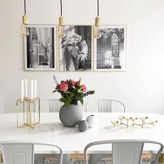 Golden Quartet candelabra in dining room / Photo by Diy Interior, Candelabra, Minimalist Design, Gallery Wall, Dining Room, Frame, Instagram Posts, Home Decor, Picture Frame
