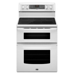 Maytag - Gemini Self-Clean Smooth-Top Double Oven Electric Range – White - YMET8665XW - YMET8665XW - Home Depot Canada