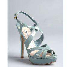 Miu Miu lagoon patent leather strappy platform sandals $416.79 plus 20% off