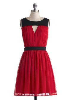 Barcelona Balcony Dress - Mid-length, Red, Black, Cutout, Party, A-line, Sleeveless, Good, Scoop, Solid, Wedding, Cocktail, Holiday Party