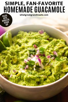 This is truly the best homemade guacamole recipe that's simple and easy. It's so addicting and full of flavor, and it's the only classic guacamole recipe you need! It's paleo, Whole30, keto, vegan, and even AIP friendly! It always disappears quickly when served at gatherings and game days #superbowlsnack #superbowl #gamedaysnacks Quick Lunch Recipes, Best Gluten Free Recipes, Whole 30 Recipes, Paleo Recipes, Paleo Sauces, Mexican Recipes, Delicious Recipes, Easy Recipes, Dessert Recipes