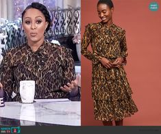 Tamera's tiered leopard print dress on The Real Tamera Mowry, Leopard Dress, Real Style, Dresses With Sleeves, Fashion Outfits, Blouse, Long Sleeve, Clothes, Tops