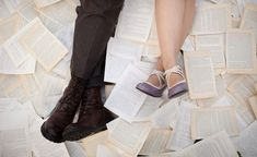 Or scatter them: | 31 Beautiful Ideas For A Book-Inspired Wedding  Excellent engagement photo