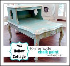 Fox Hollow Cottage's recipe for homemade chalk paint and tutorial on table makover. Might have to try this paint on furniture and maybe something else. Furniture Fix, Do It Yourself Furniture, Chalk Paint Furniture, Funky Furniture, Refurbished Furniture, Repurposed Furniture, Shabby Chic Furniture, Furniture Projects, Furniture Making