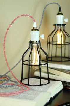 Industrial Pendant Light w/ Cage, Work Guard - Book, Desk Lamp - Edison Light Bulb - Zig Zag Wire in Red or Black