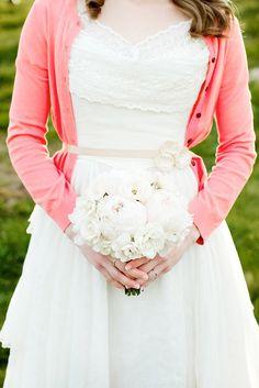 white eyelet vintage wedding gown + coral cardigan