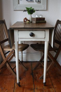 Restored Vintage Pine Drop Leaf Table With Single By ArthurandEde