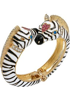 AT THE ZOO ZEBRA HINGE BANGLE BLACK WHITE accessories jewelry bracelets fashion