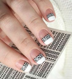 Black and white tribal inspired spring nail art. Make your French tips as interesting as ever with this tribal themed design in black and white nail polish. French Nail Designs, Short Nail Designs, Nail Art Designs, Nails Design, Spring Nail Art, Spring Nails, Summer Nails, French Nails, French Polish
