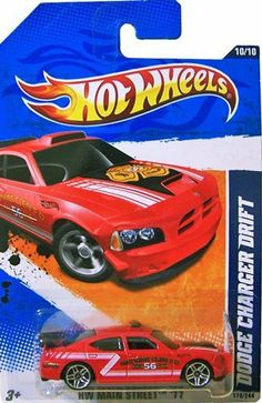 2011 Hot Wheels [Red Watkins Glen Fire Department] DODGE CHARGER DRIFT CAR #170/244, HW Main Street #10/10, 1:64 scale by Mattel. $11.45. Red colored Dodge Charger Drift with Watkins Glen F.D. Rescue 56 decor on body.  The vehicles in this series pay homage to real cities, based on the home towns of various Hot Wheels team members. Collect all 10!
