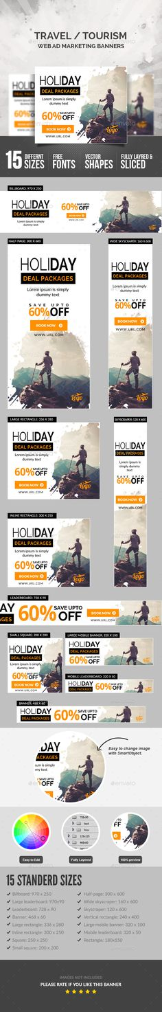 Travel Ad Banners — Photoshop PSD #travel sale #travel marketing • Available here → https://graphicriver.net/item/travel-ad-banners/17752938?ref=pxcr