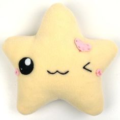 Super cute winking star star plush! Perfect for those that need a little cute in their life. Handmade from super soft fleece, with happy face & pink felt heart