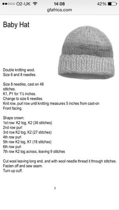 Baby Hat Knitting Patterns Free, Baby Booties Free Pattern, Baby Sweater Patterns, Crochet Beanie Pattern, Baby Hats Knitting, Knit Hats, Easy Knitting, Knitting Stitches, Beginner Knitting Projects