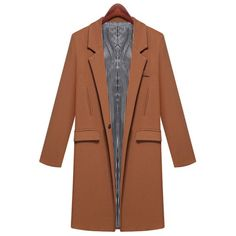 Elegant Lapel Solid Color Slimming Long Sleeve Cotton Blend Coat For Women, KHAKI, S in Jackets & Coats | DressLily.com