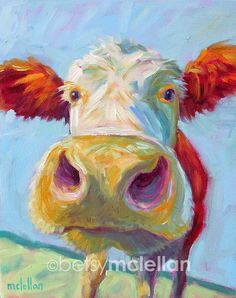 Cow Original Painting by betsymclellanstudio on Etsy #cow #nursery #nurserydecor