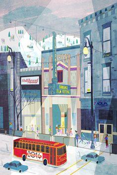 Josie Portillo illustration. / Ilustración de ciudad.