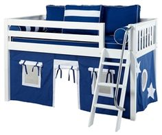 Maxtrix Low Loft Bed White with Angled Ladder and Curtains | Bed Frames | Maxtrix Furniture