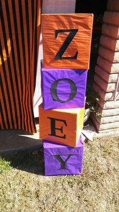 Name boxes for halloween baby shower. Welcome little pumpkin. DIY party decor, birthday, graduation, retirement, fall.