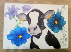#Drawing of a #Dutch #cow whit #flowers on A2 size paper. I've made this drawing for my mother in law, she loooooves cows!  Used materials: - #cansonpaper  #copicmultiliner #pencil  #promarkers #color  #retro  #vintage