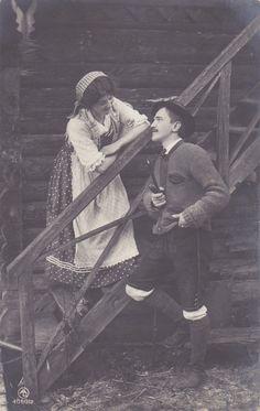 true vintage Postkarte  Tracht Dirndl Hut Janker von wuenschdirwas