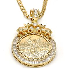 Cubic Zirconia Jewelry Gold Layered Religious Pendant, Angel and Elephant Design, with White and Ruby Cubic Zirconia, Polished Finish, Gold Tone - Gold Coin Ring, Gold Coin Necklace, Coin Jewelry, Metal Jewelry, Sterling Silver Jewelry, Antique Jewelry, Vintage Jewelry, Jewlery, Grandmother Jewelry