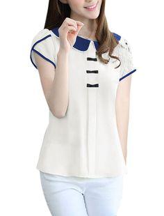 Allegra K Women Peter Pan Collar Button Decor Back Sweet Blouse White L