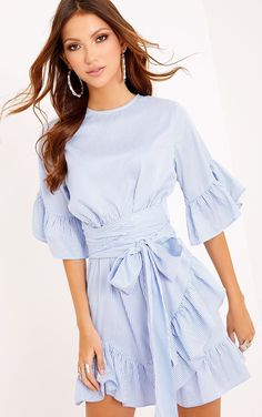 CWLSP Striped Dress Women 2017 Summer Casaul Half Flare Sleeve Party Dresses With Sashes Mini oodji vestidos Ruffles Blue Dresses, Casual Dresses, Dresses With Sleeves, Party Dresses, Tunic Dresses, Dress Party, Belted Dress, Striped Dress, Lace Dress