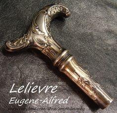 Antique Art Nouveau French Eugene-Alfred Lelievre Silver Walking Stick from artphilosophy on Ruby Lane