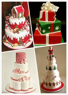 These cakes are brilliant. Love the gingerbread house and Christmas present cakes. Not your usual wedding cakes but well suited to a Xmas theme