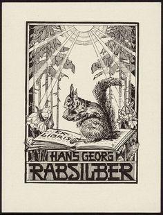 German Art Nouveau Bookplate 1920 - Squirrel