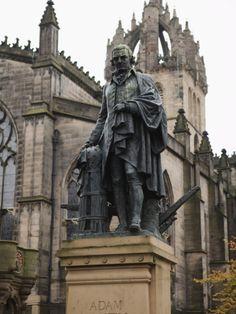 Adam Smith Statue, St. Giles Cathedral, Edinburgh, Lothian, Scotland, Uk