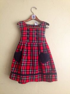 Vintage Red Plaid Jumper with Heart Pockets Girls Size 5