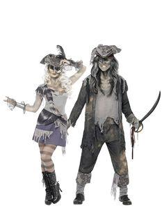 Déguisement de couple fantôme pirate Halloween  : Déguisement fantôme pirate femme HalloweenCe déguisement de fantôme pirate pour femme se compose d'une robe, d'un chapeau, d'une paire de manchettes et d'un...