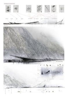 Lámina. Diversos planos en sección y alzado que muestran la integración de la propuesta con el entorno.