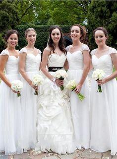 White Bridesmaid Gown,Pretty Prom Dresses,Chiffon Prom Gown,Simple Bridesmaid Dress,Beaded Bridesmaid Dresses,Cap Sleeves Bridesmaid Gowns PD20184894