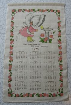 1978 Calendar linen tea towel.