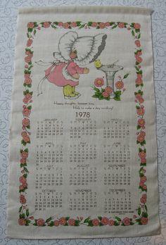 1978 Calendar linen tea towel.