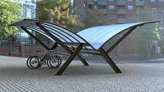 The open design of all of our cycle shelters gives the product a special c. Urban Furniture, Street Furniture, Outdoor Furniture, Metal Furniture, Bike Parking Rack, Bike Rack, Bike Locker, Cycle Shelters, Bike Shelter