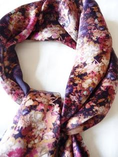 Hand painted floral print scarf