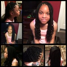 Box braids w/ Crinkled Ends Little Girl Box Braids, Little Girl Braid Styles, Kids Box Braids, Kid Braid Styles, Black Girl Braids, Braids For Black Hair, Girls Braids, Kid Styles, Young Girls Hairstyles