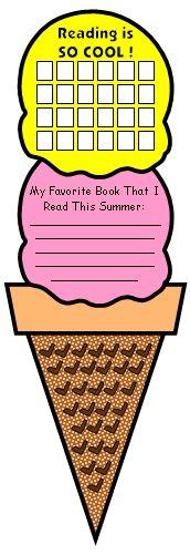 Summer Reading Program Homework Ice Cream Sticker Chart Templates