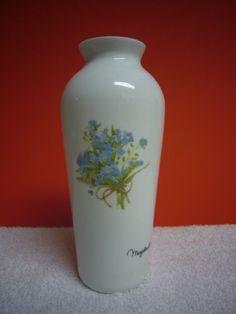 White Glass Vase Collectible Blue Floral Marjolein Bastin Hallmark Decorative