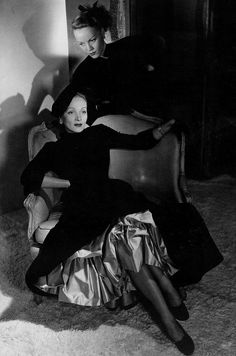 Marlene Dietrich and daugther Maria in Dior, photo by Horst P. Horst for Vogue, 1947