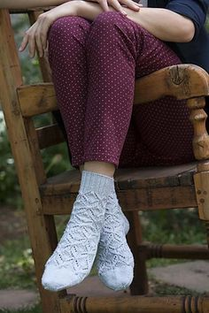 Intricate top-down socks with twisted stitch snowflake motif. Little Cotton Rabbits, Knitting Magazine, Knitting Socks, Knit Socks, One Color, Colour, Yarn Colors, Yarn Crafts, Leg Warmers