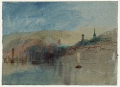 Joseph Mallord William Turner, 'Honfleur, Normandy from the West' (J. Turner: Sketchbooks, Drawings and Watercolours) List Of Paintings, A4 Poster, Poster Prints, Seascape Paintings, Modern Paintings, Joseph Mallord William Turner, Classic Image, Will Turner, Twilight