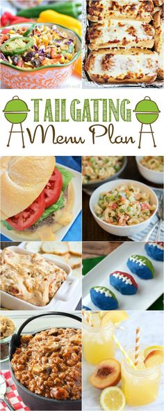 Need Football Tailgating Menu Plan Ideas? Make things easy with this list of recipes for appetizers, salads and side dishes, main dishes, beverages, and even desserts — all worthy to be part of your football party. Tailgate Food, Tailgating Recipes, Grilling Recipes, Healthy Grilling, Tailgate Appetizers, Vegetarian Grilling, Barbecue Recipes, Barbecue Sauce, Game Day Snacks