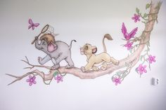 Tak met vlindertje, vogeltje, LionKing en JungleBook muurschildering