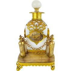 """Palais Royal  Opaline """"Eglomise"""" Perfume in Ornate Holder.  A BEAUTY from My…"""