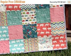 Baby Girl Organic Quilt Blue Coral Pink Grey by SunnysideDesigns2