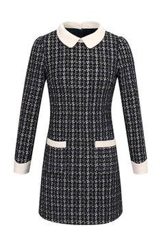 d2d736c74c7 Peter Pan Collar Tweed Fleece Lining Dress